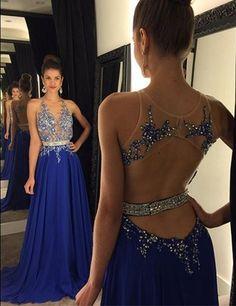 Gorgeous Royal Blue Lace Appliques Prom Dress UK Beadings Chiffon A-line AP0 BA4903_3