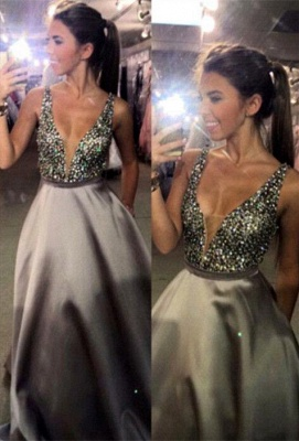 Newest Crystal Straps Prom Dress UK A-line Sweep Train_1