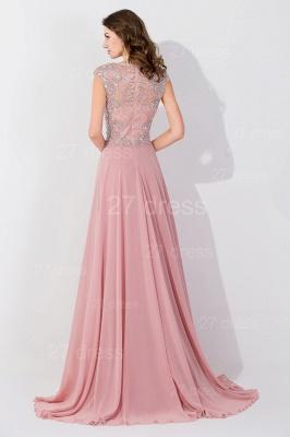 Gorgeous Beangs Cap Sleeveless Chiffon Evening Dress UK Sweep Train Zipper_4