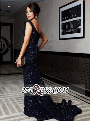 Bow Sequined Sweep-Train Luxury Cap-Sleeve Mermaid Prom Dress UK BO4165_1