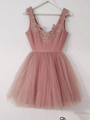 Cute Lace-Appliques Short Tulle Pink A-line Homecoming Dress UKes UK_4