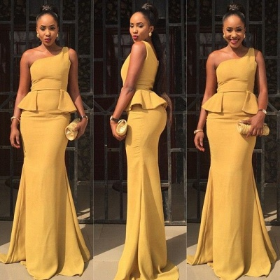 Elegant One Shoulder Mermaid Yellow Prom Dress UK Ruffles Sweep Train_2