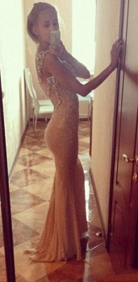 Sequins Elegant Mermaid Prom Dress UK with Crystals Straps_2