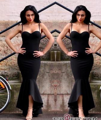 Mermaid Sweetheart Straps Spaghetti High-Low Black Women Dress UK_1