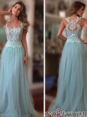 A-Line Long Sleeveless Tulle Lace-Applique Sexy Prom Dress UKes UK_1