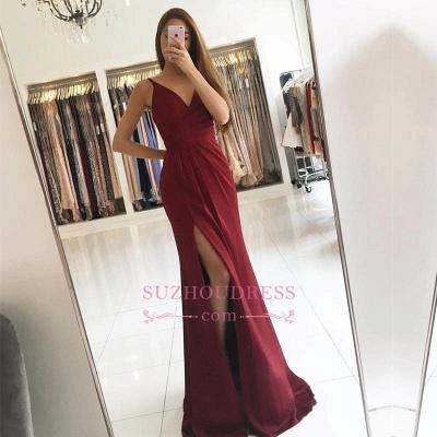 Straps Sleeveless V-neck Front-Split Modest Prom Dress UK SP0344_1