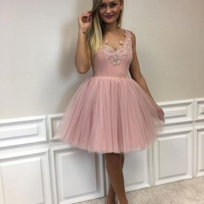 Cute Lace-Appliques Short Tulle Pink A-line Homecoming Dress UKes UK_5