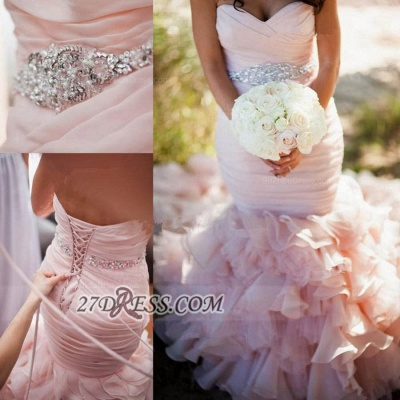 Sweetheart Sleeveless Sexy Mermaid Wedding Dress Spaghetti Strap Lace-up With Ruffles Beadss_2