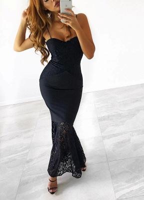 Luxury Spaghetti-Strap Black Lace Mermaid Sweetheart Prom Dress UK_1