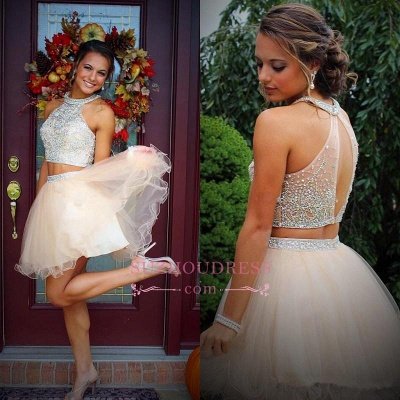 Short Champagne Halter Crystals Mini Discount Open-Back Two-Piece Organza Homecoming Dress UKes UK_1