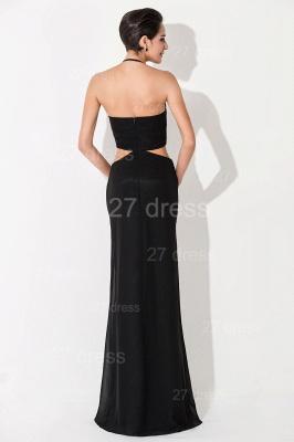 Black Bodycon Halter Evening Dress UK Front Split_5