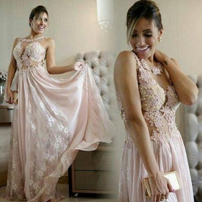 Pearl Scoop Lace Floor-length Pink A-line Evening Gown_1