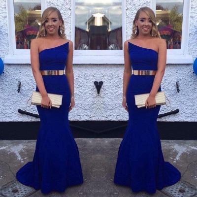 Sexy Royal Blue Mermaid Evening Dress UK With Gold Sash Prom Dress UK BK0_3