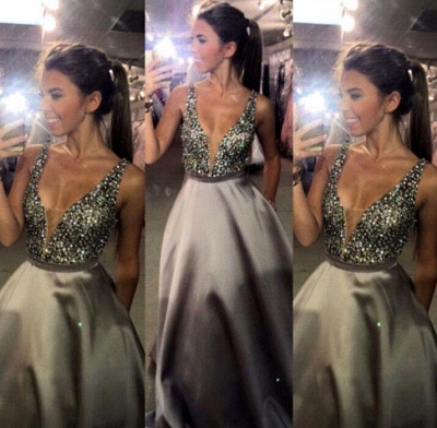 Newest Crystal Straps Prom Dress UK A-line Sweep Train_4