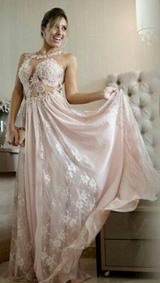 Pearl Scoop Lace Floor-length Pink A-line Evening Gown_2