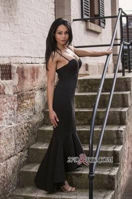 Mermaid Sweetheart Straps Spaghetti High-Low Black Women Dress UK_2