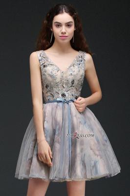 Sash Cute Lace-up Sleeveless Straps Short Flowers Homecoming Dress UK_4