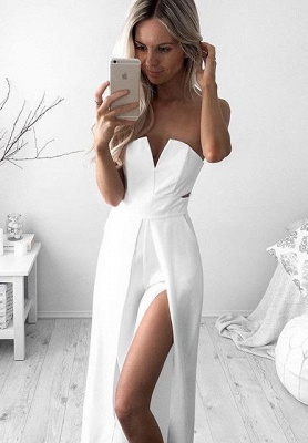 Newest White A-line Sleeveless Front Split Prom Dress UK_1