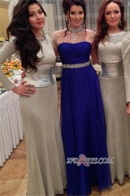 Beadings Royal-Blue Short-Sleeves A-Line High-Neck Prom Dress UK_2