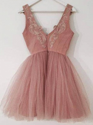 Cute Lace-Appliques Short Tulle Pink A-line Homecoming Dress UKes UK_3