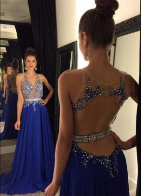 Gorgeous Royal Blue Lace Appliques Prom Dress UK Beadings Chiffon A-line AP0 BA4903_1