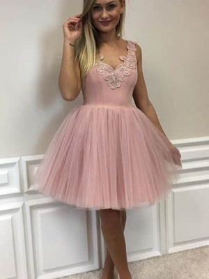 Cute Lace-Appliques Short Tulle Pink A-line Homecoming Dress UKes UK_6