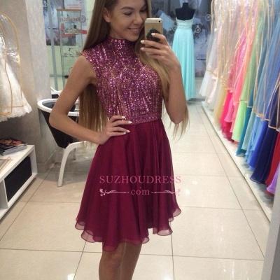 Mini High-Collar Crystal Beading Cute Sleeveless Homecoming Dress UKes UK BA3852_1