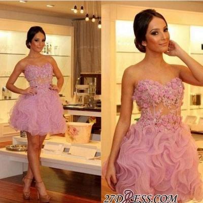 Luxury Sweetheart Short Prom Dress UKes UK | Homecoming Dress UK With Flowers_3