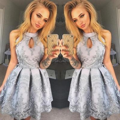 Halter Keyhole Homecoming Dress UK | Short Lace Party Dress UK_4