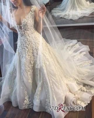 Appliques Gorgeous Lace Sleeveless Princess Wedding Dress_1