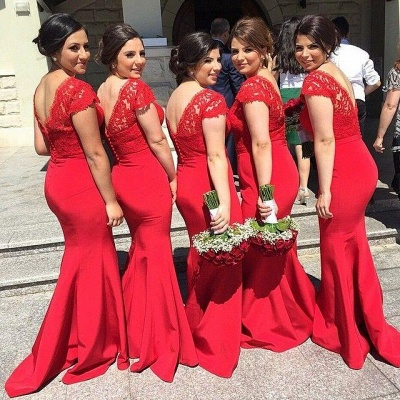 Modern V-neck Red Mermaid Bridesmaid Dress UK With Lace Appliques_2