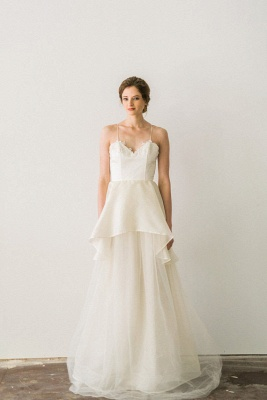 Elegant Spaghetti Strap Wedding Dress A-line Lace Sleeveless_4