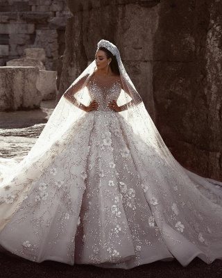 Glamorous Beads Floral Bridal Gowns Sheer Cheap Neck Long Sleeves Ball Gown Wedding Dresses UK_2