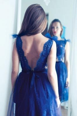 Modest Lace Royal Blue Homecoming Dress UK Tulle Mini Sash_3