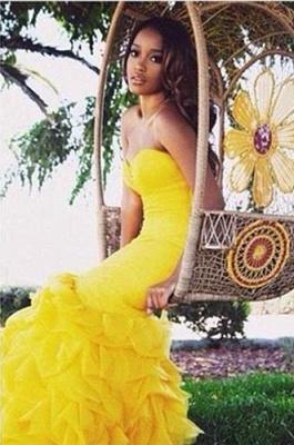 Luxury Sweetheart Yellow Prom Dress UKes UK Mermaid With Train BK0_4
