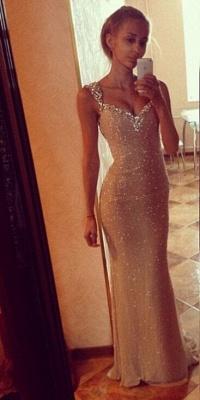 Sequins Elegant Mermaid Prom Dress UK with Crystals Straps_3