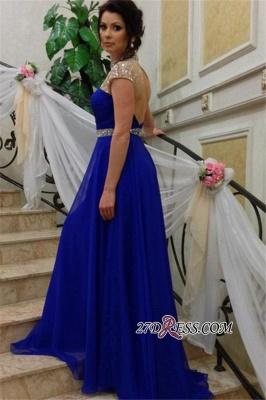 Beadings Royal-Blue Short-Sleeves A-Line High-Neck Prom Dress UK_3
