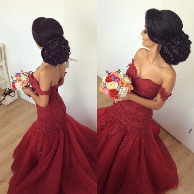 Luxury Off-the-Shoulder Burgundy Prom Dress UK Long Mermaid Lace Party Gowns BA7580_3