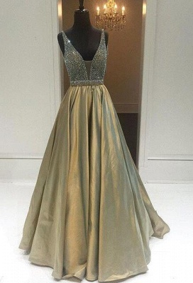 Newest Crystal Straps Prom Dress UK A-line Sweep Train_3