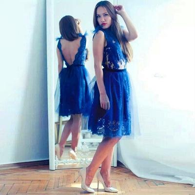 Modest Lace Royal Blue Homecoming Dress UK Tulle Mini Sash_4