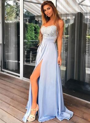 Sexy Spaghetti-Strap Long Prom Dress UK Lace Chiffon With Split BA7853_1