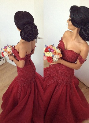 Luxury Off-the-Shoulder Burgundy Prom Dress UK Long Mermaid Lace Party Gowns BA7580_1