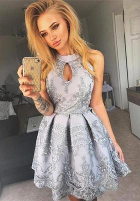 Halter Keyhole Homecoming Dress UK | Short Lace Party Dress UK_1