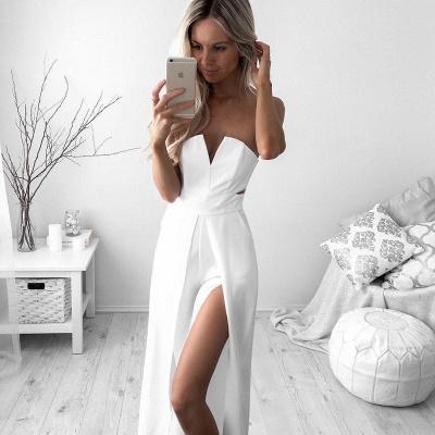 Newest White A-line Sleeveless Front Split Prom Dress UK_3