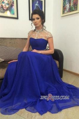 Beadings Royal-Blue Short-Sleeves A-Line High-Neck Prom Dress UK_4