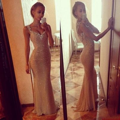 Sequins Elegant Mermaid Prom Dress UK with Crystals Straps_4