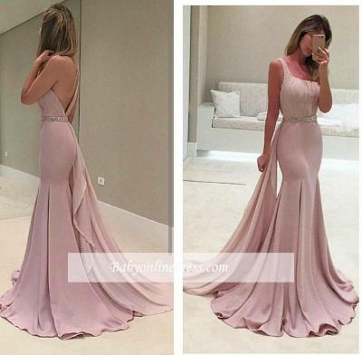 Backless Sexy Ruffles Mermaid Crystal One-Shoulder Prom Dress UK BA3981_2