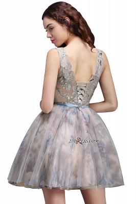 Sash Cute Lace-up Sleeveless Straps Short Flowers Homecoming Dress UK_5