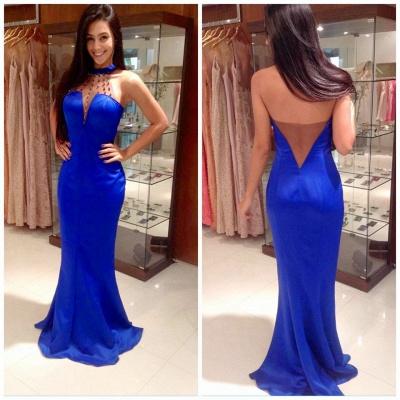 Elegant Halter Beadings Mermaid Prom Dress UK Sleeveless Sweep Train BA5176_3