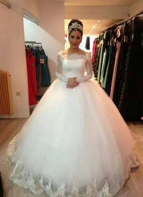 Elegant Long Sleeve Lace Tulle Wedding Dress Ball Gown_1